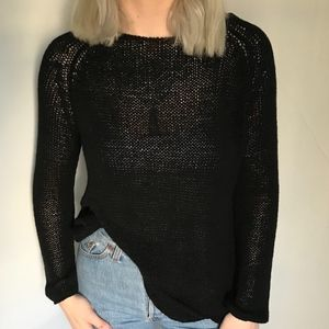 American Apparel Black Oversized Knit Sweater